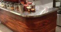 curved timber counter