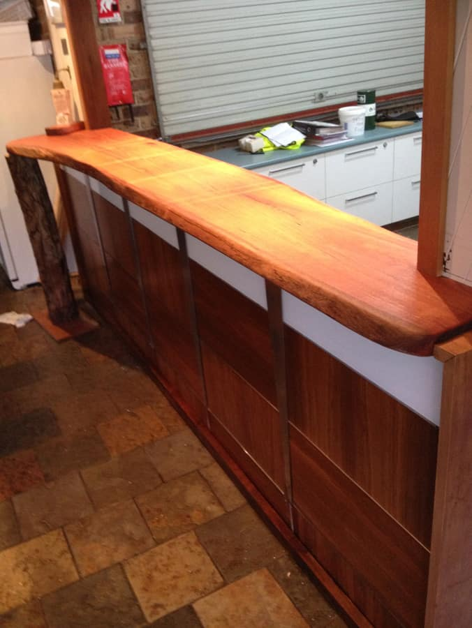Bar top installed