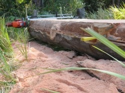 Cutting log for slabs