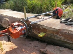 Cutting log for timber slabs