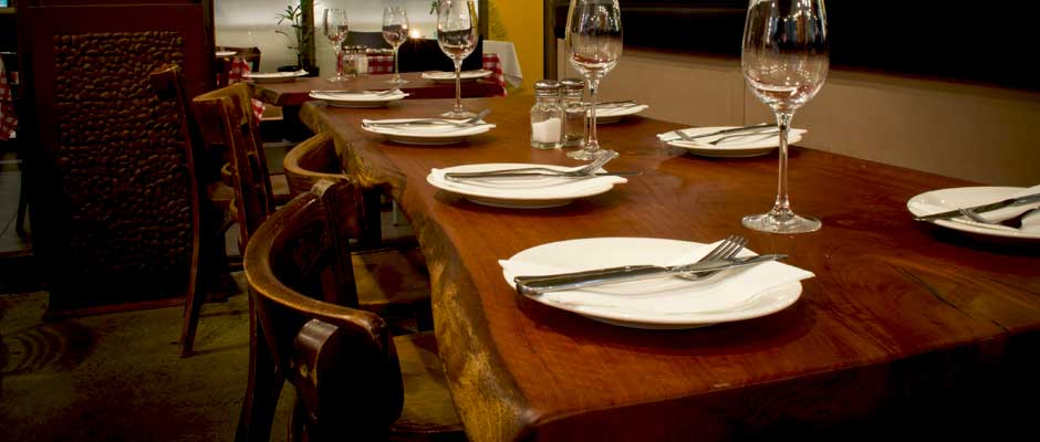 Rustic restaurant dining table